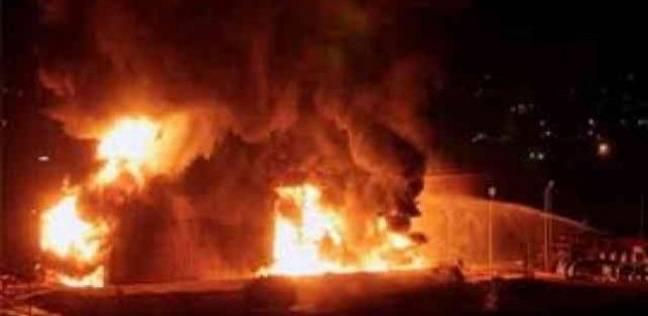 حريق كبير داخل مستودع بولسترين في اربد