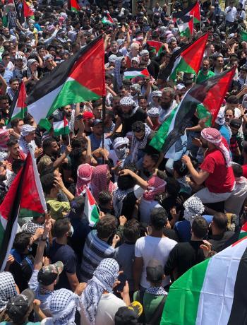 أردنيون يحتشدون قرب الحدود نصرة لفلسطين (فيديو، صور)