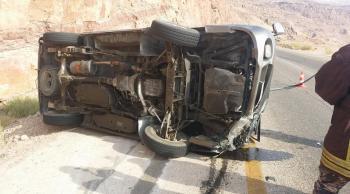 3 إصابات بحادث تدهور بعد محطة الموجب السفلي باتجاه عمان