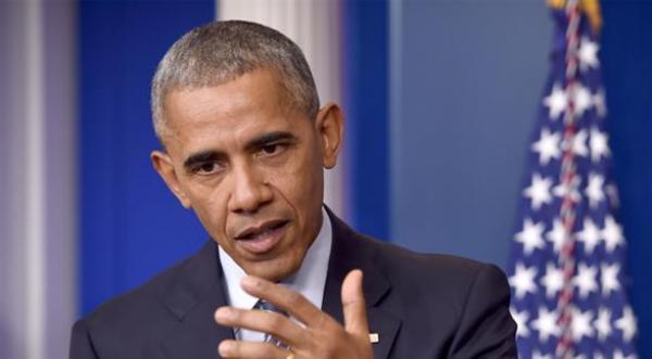 الرئيس الأمريكي باراك أوباما خلال المؤتمر الصحافي (أ ف ب)