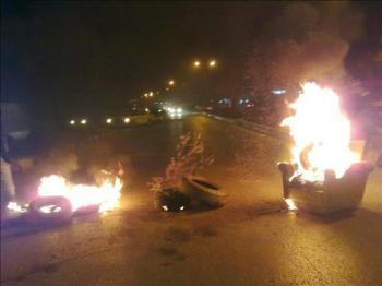 اغلاق طريق بجرش احتجاجا على قرار للمحافظ