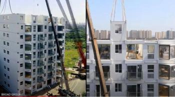 معجزة صينية ببناء برج سكني في يوم واحد