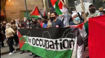 مسيرتان تجوبان شوارع نيويورك وواشنطن تنديدا بالعدوان الإسرائيلي