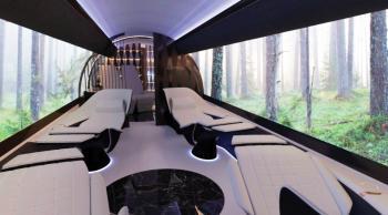 طائرة نفاثة جدرانها شاشات عرض عملاقة