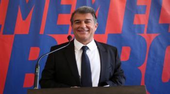 ماذا قال لابورتا في حفل تنصيبه رئيساً لبرشلونة عن مستقبل ميسي وكومان؟