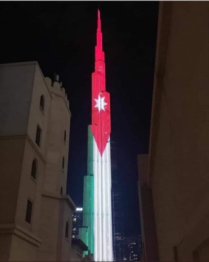 برج خليفة بالوان العلم الأردني