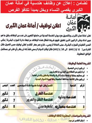 تضامن: إعلان عن وظائف هندسية في أمانة عمان يقصي النساء
