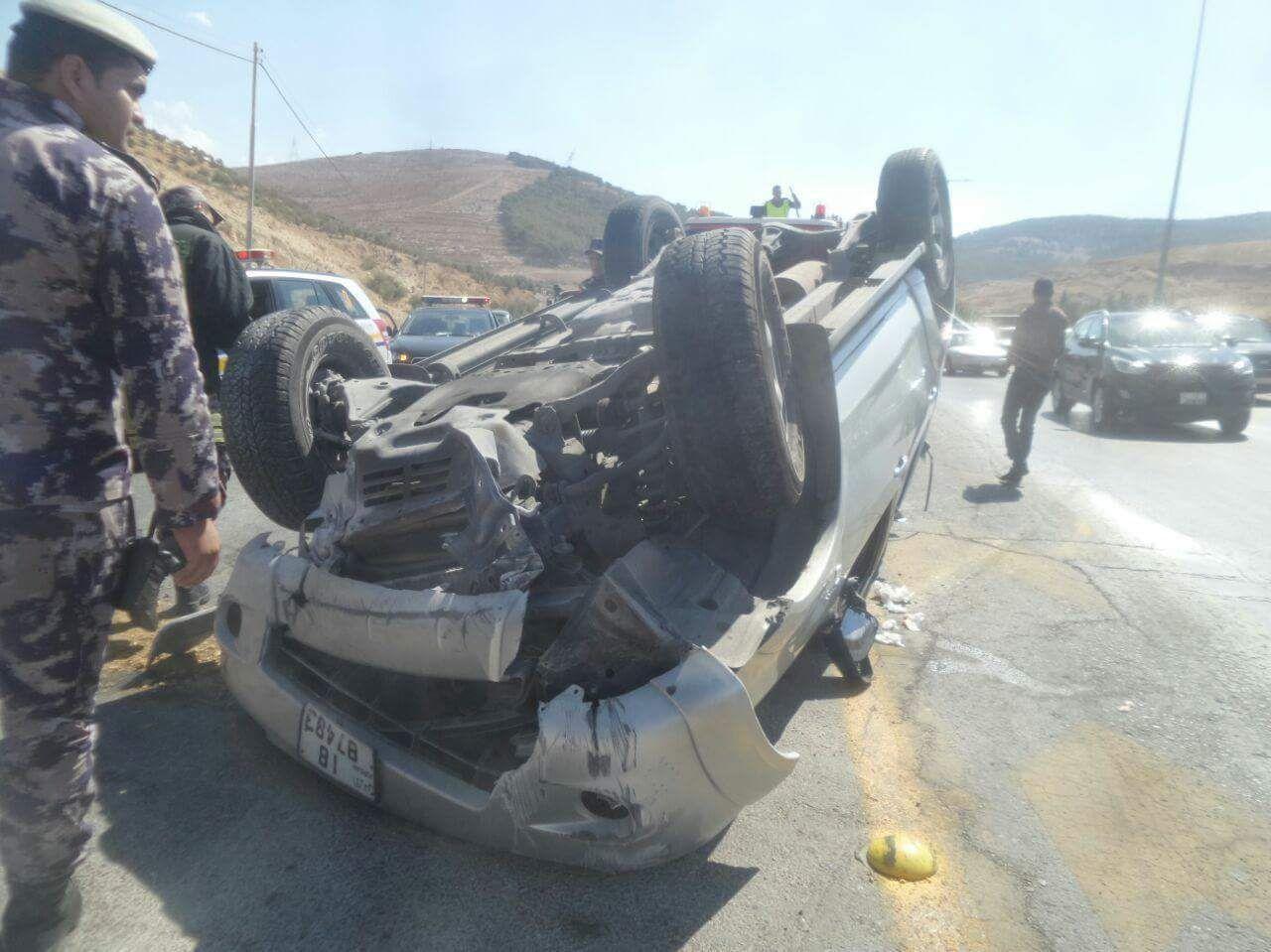 اصابة ستيني بحادث تدهور على طريق اربد عمان