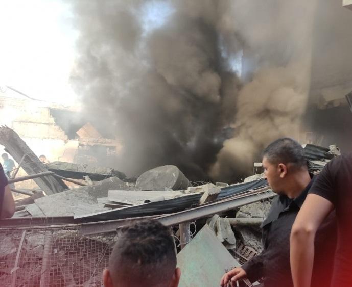 اصابات بانفجار محل توزيع غاز بسوق الزاوية في غزة