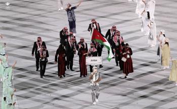 لحظة دخول البعثة الأردنية للملعب الأولمبي في طوكيو (فيديو)