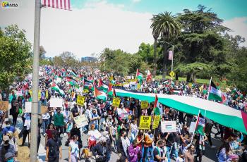الآلاف يتظاهرون في لوس انجلوس دعما لفلسطين (صور)