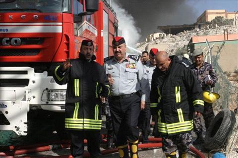 حريق مستودع مصنع في وادي الحجر بالزرقاء